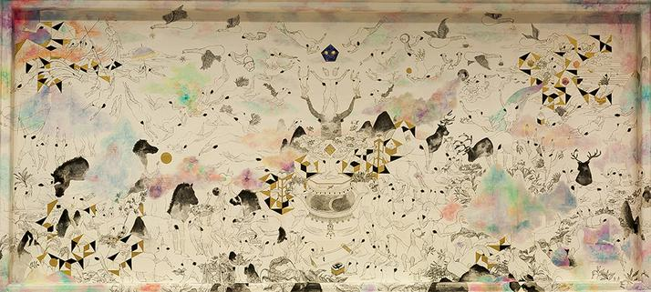 """<br><strong><font color=""""#594747"""">100X220cm / 2017 / Ink , colour and gold powder on rice paper</font></strong><br>"""